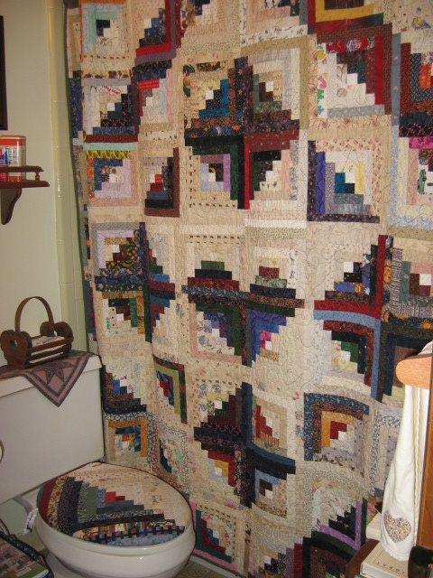 I Made This U0027Heart U0026 Star Log Cabin Quilt As A Shower Curtain For Bathroom
