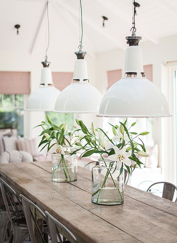 Best 25 long dining tables ideas on pinterest for Long dining table lighting