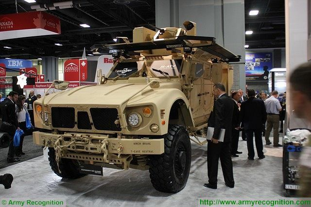 Rafael Trophy active protection system on Oshkosh M-ATV