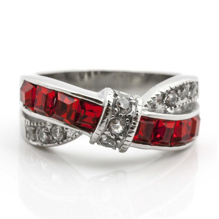 Thin Red Line 1.75 CT Red & CZ Women's Stainless Steel Fashion Ring