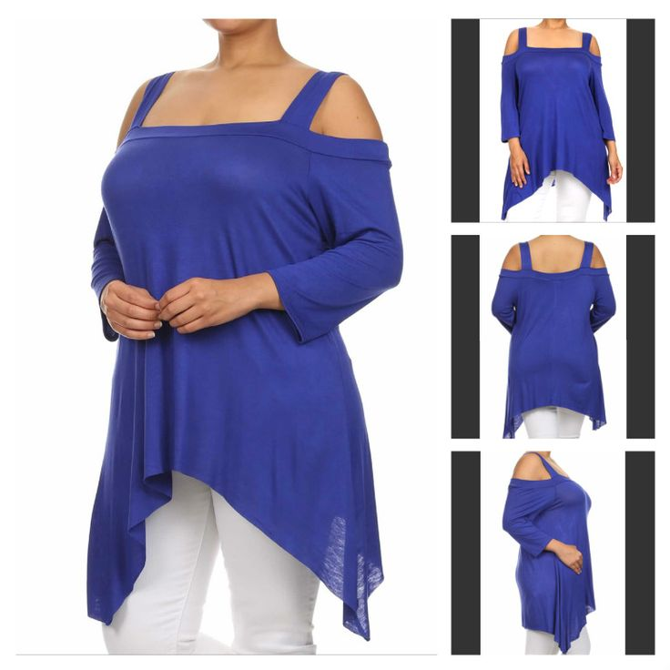 Asymmetric cold shoulder tunic with square neck.  Available colors: