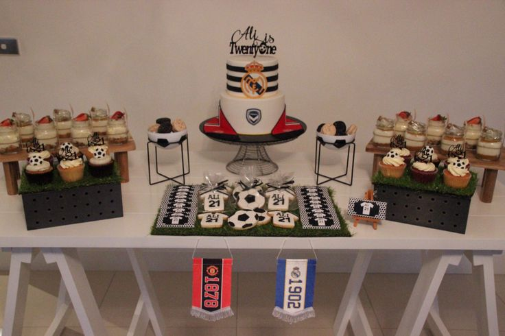 Soccer themed 21st birthday party #RealMadrid #MUFC #MelbourneVictory #cake