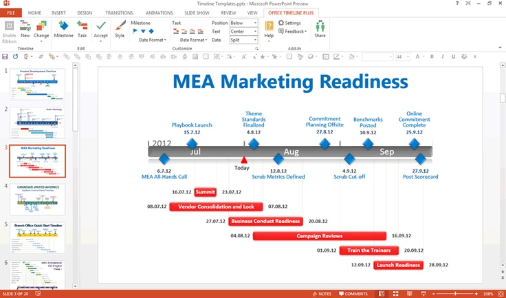 Editing A Gantt Chart In Powerpoint Using The Free Office Timeline