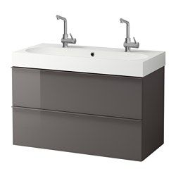 IKEA - GODMORGON / BRÅVIKEN, Sink cabinet with 2 drawers, high gloss gray, , 10-year Limited Warranty. Read about the terms in the Limited Warranty brochure.Smooth-running and soft-closing drawers with pull-out stop.You can easily change the size of the box by moving the divider.You can easily see and reach your things because the drawers pull out fully.Drawers made of solid wood, with bottom in scratch-resistant melamine.The included water trap is easy to connect to the drain, washing…