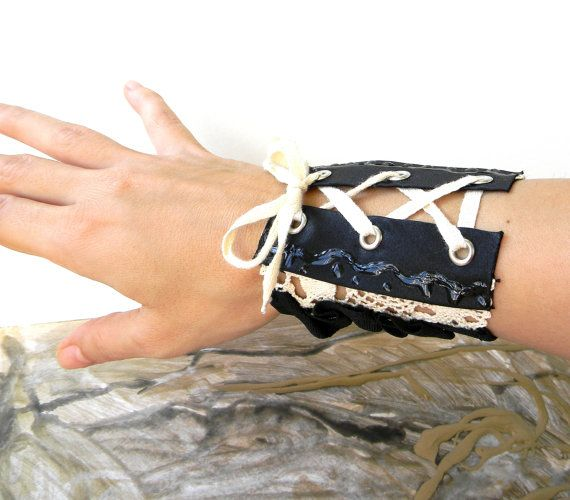 Wide Cuff Bracelet Textile Jewelry Fabric Cuff Gothic by Elyseeart
