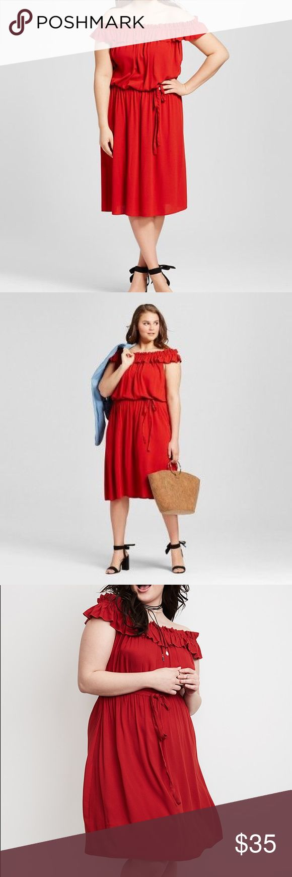"Red Bardot dress in plus Bardot off the shoulder dress. Orange red dress with ruffle top. Elastic waist for comfort and best fit. Midi length perfect to wear with most any shoes. New without tags. 62"" bust about 47"" length. whowhatwear Dresses"