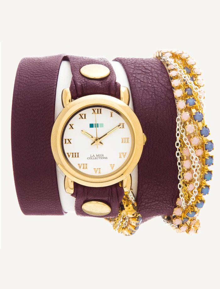 La Mer Watches: Crystal Plum Eggplant Wrap