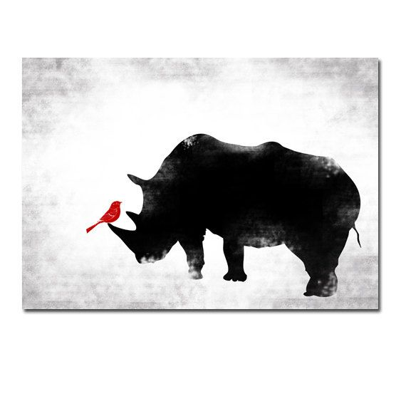 Black & White Rhino and Red bird  Fine art print by ialbert, $30.00