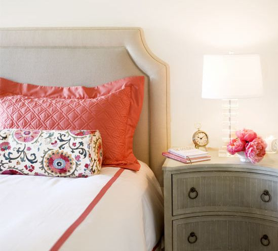 .: Guest Room, Colors Combos, Guest Bedrooms, Coral Colors, Colors Schemes, Bedside Tables, Upholstered Headboards, Pink Accent, Bedrooms Ideas