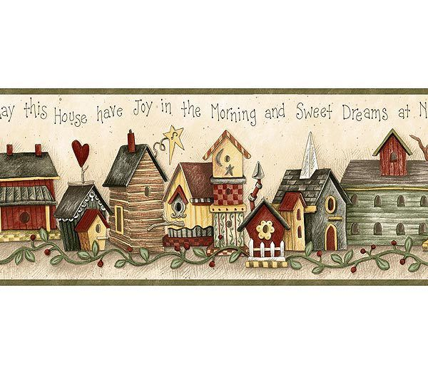 Interior Place - Green Birdhouse Blessing Wallpaper Border, $16.99 (http://www.interiorplace.com/green-birdhouse-blessing-wallpaper-border/)