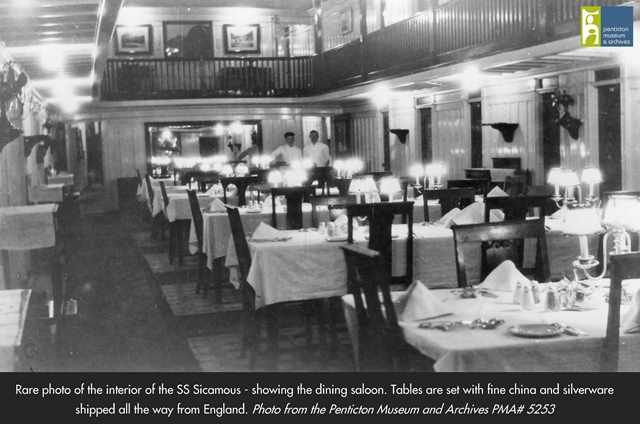 Rare photo of the inside of the SS Sicamous, prior to alterations. This shows the dining saloon, on the second level of the ship. Photo from the Penticton Museum and Archives.