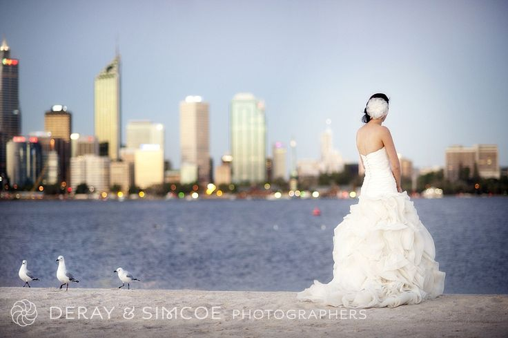 Bride's portraits along the foreshore, over looking the Perth city skyline