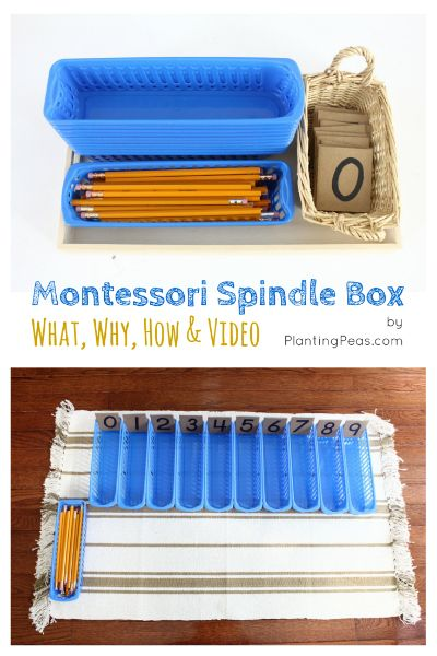 Montessori Spindle Box - A foundational activity in the Montessori math curriculum. Click here to find out more about what it is, why it's important, how to DIY, and watch a video of a child in action. (by Planting Peas)  http://plantingpeas.com/montessori-spindle-box/