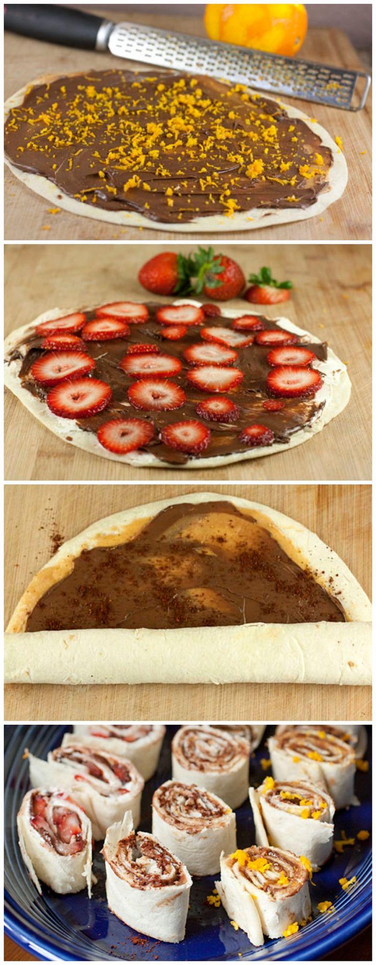 Dessert Pinwheels: flour tortillas + peanut butter + Nutella + strawberries + orange zest + cream cheese + chili powder
