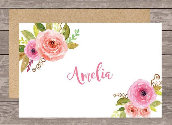 Personalized stationery set/Floral Initial by NoteWorthyStationery