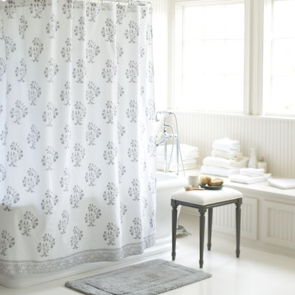 Ava Block Print Shower Curtain Gray Cool Shower