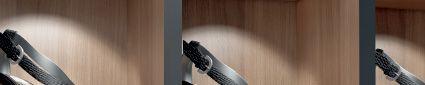LOOX, système d'éclairage LEDs pour meubles et aménagement. Système 350 mA adapté à la mise en valeur d'objets dans les meubles : bijouterie, vitrine, etc. La LOOX 4012 - luminaire à encastrer - est un modèle orientable.