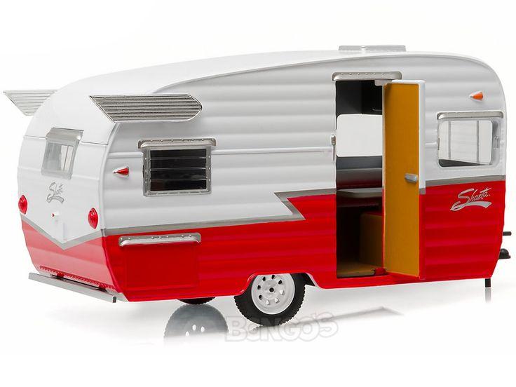 """Home :: Other Diecast :: Diecast Accessories :: Shasta 15' (5m) """"Airflyte"""" Caravan Trailer 1:24 Scale - Greenlight Diecast Model (Red)"""