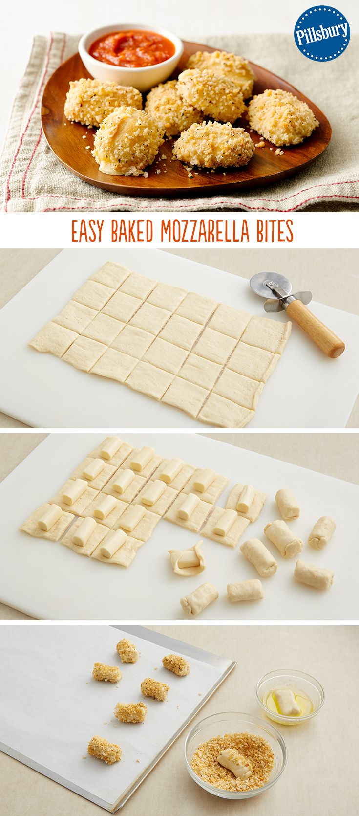 Make your favorite restaurant appetizer at home with these kid-approved Easy Baked Mozzarella Bites —perfect for dipping in marinara sauce! This recipe uses string cheese for the filling and has a crunchy coating with the panko bread crumbs. You could also serve them for the big game!