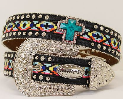 Aztec Rhinestone Cross Western Belt