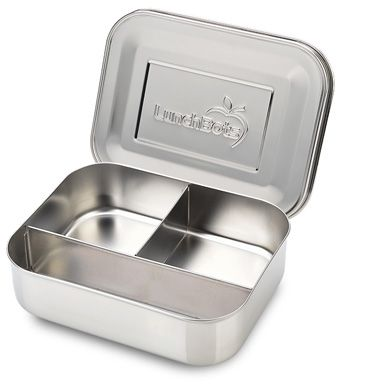 LunchBots Trio Stainless Steel 3 Compartment Divided Food Container for on the go allergy free food