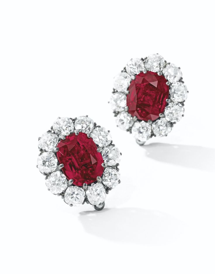 VERY FINE PAIR OF RUBY AND DIAMOND EARRINGS, LATE …