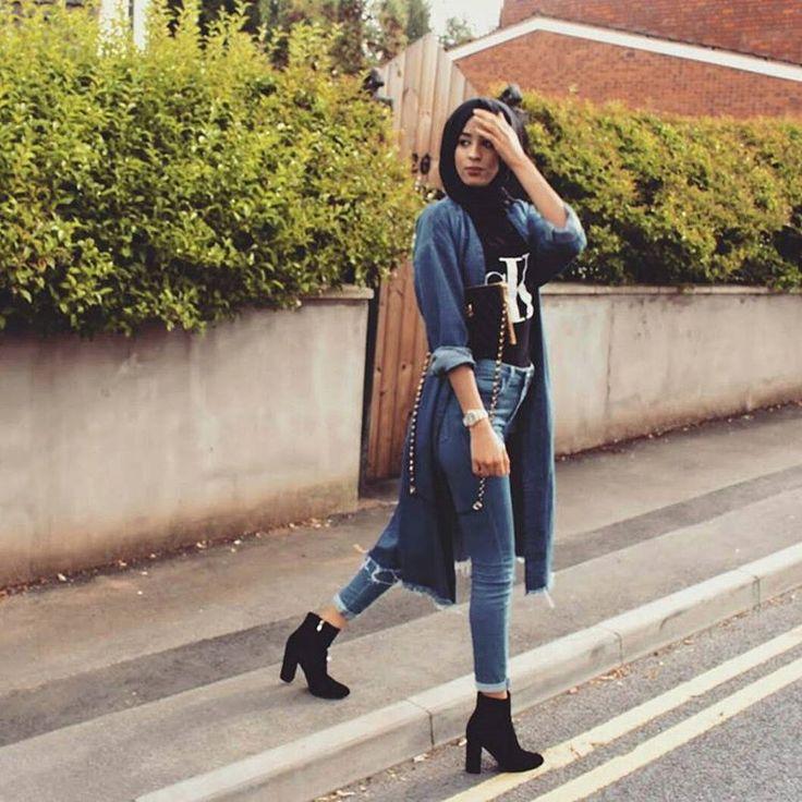 Hijab fashion jeans style.