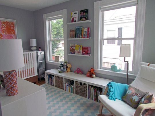 nurseryWall Colors, Ideas, Bookshelves, Nurseries, Windows Seats, Kids Room, Book Storage, Book Shelves, Baby Room