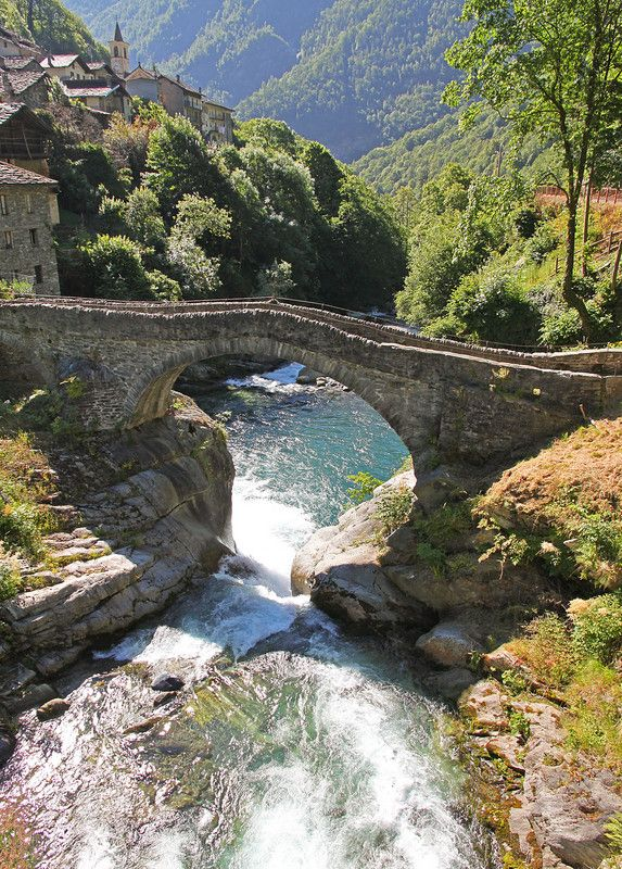 ''Ponte sull'Ayasse.''  Pontboset (Aosta), Valle d'Aosta, Italy.  Bridge over a creek in Italy.