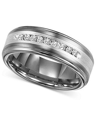Triton Mens Diamond Ring, Tungsten Carbide and Sterling Silver Diamond Wedding Band (1/4 ct. t.w.) - Wedding & Engagement Rings - Jewelry & Watches - Macys