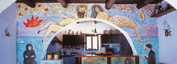 Traditional Cottages,  Wallpainting by Minos Argyrakis.   According to the painter, It describes Crete in a naif way