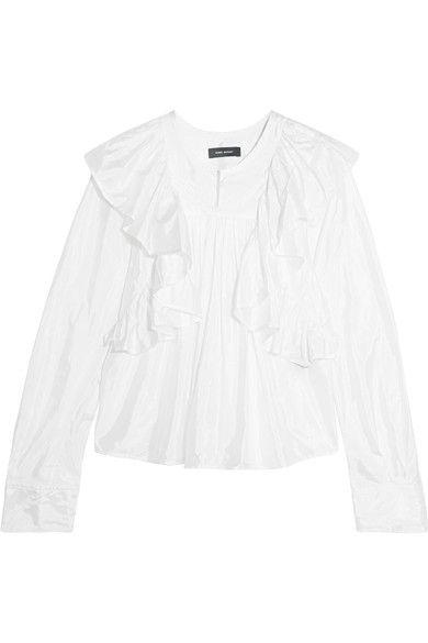ISABEL MARANT Arlington ruffled taffeta blouse. #isabelmarant #cloth #tops