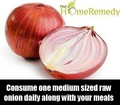 It is believed that certain enzymes present in red onions inhibit the cholesterol forming mechanism. Onion also aids in raising the level of HDL or good cholesterol. You can consume one medium sized raw onion daily along with your meals to lower your blood cholesterol.