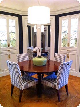 striped chairs + navy blue walls + white trim