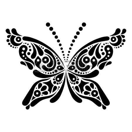 Beautiful butterfly tattoo  Artistic pattern in butterfly shape  photo