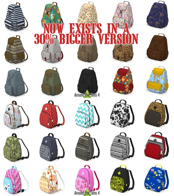 Sims 4 CC's - The Best: Decorative Backpacks by Sandy - Around the Sims