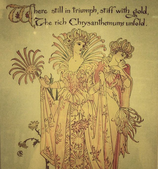 "I found this at an antiques market... Does anyone know anything about this art?  where it came from? Is it from a book? It says: ""Where still in triumph, stiff with gold, the rich Chrysanthemum's unfold."" ****  #antique #art #flower #mystery # #chrysanthemum #gold #book #women #costume #garden #story #rhyme #poem #poetry #quotes #anthropomorphic #vehemenceandemergence #quote"