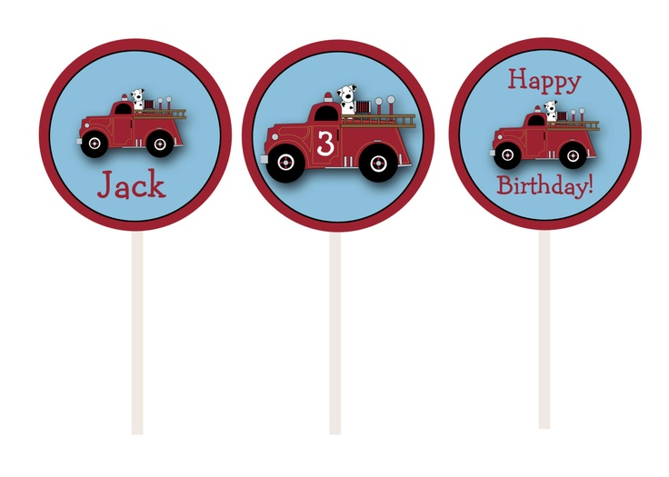 Fire truck cupcake toppers   fire truck by TheButterflyPress, $12.00