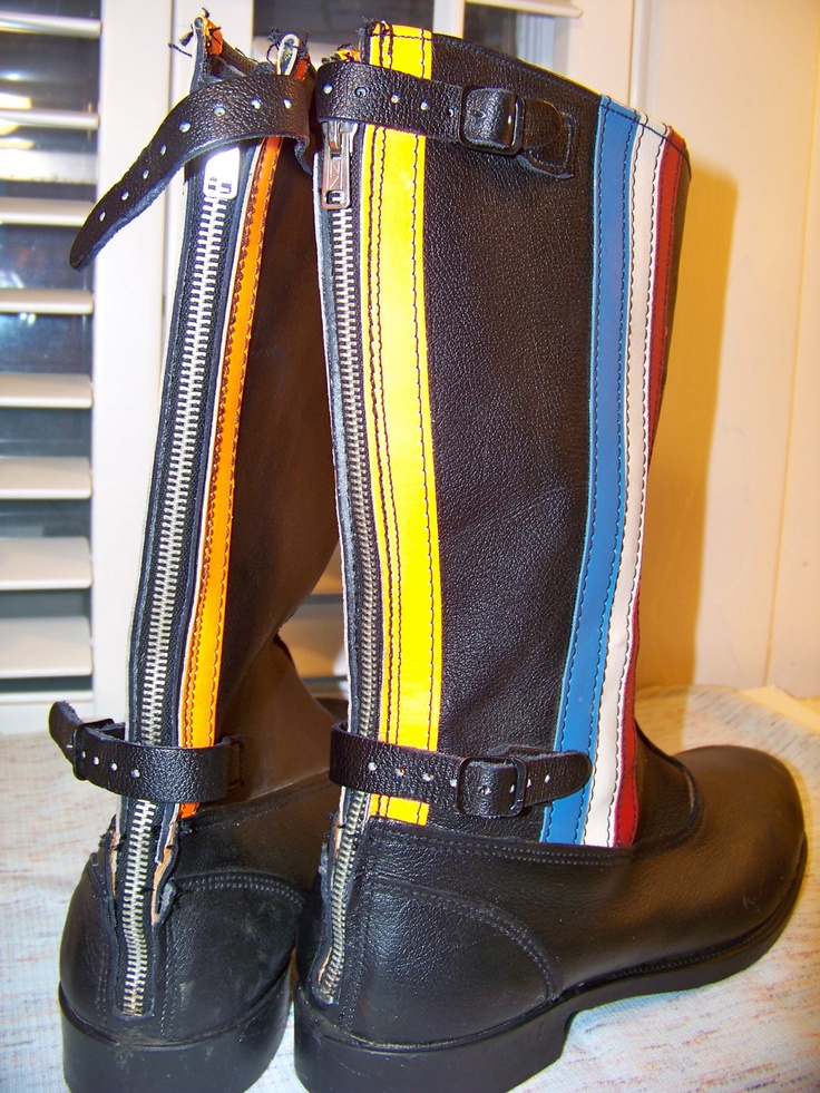 Mens 9 Boots / 80s Wolverine / Motorcycle Boots Mens / Snow, Winter Rubber, Leather Boots / Zips, Straps, Buckles, Stripes. $55.00, via Etsy.