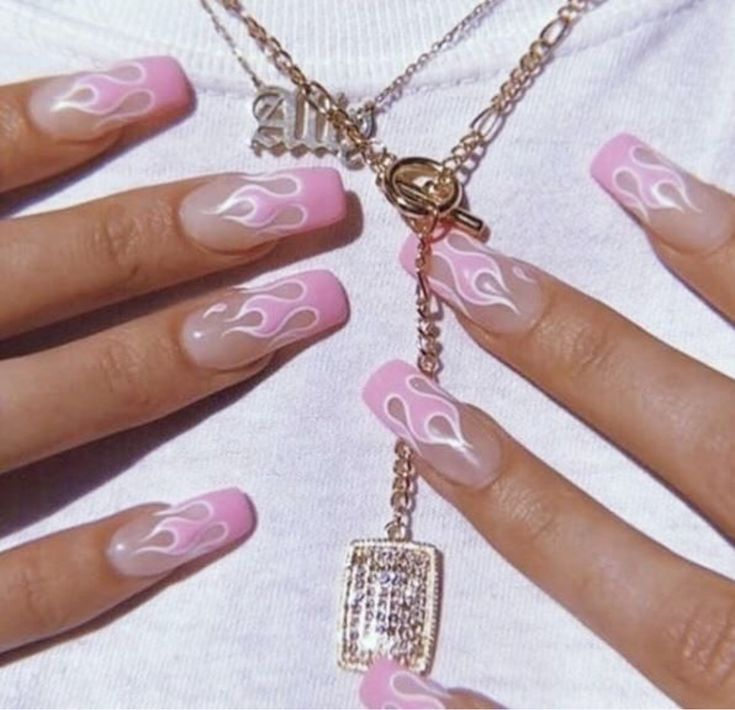 Pink fire nails💗🔥🏁