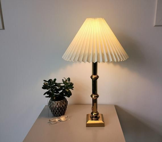 Tall And Elegant Vintage Danish Brass Table Lamp With New Cream
