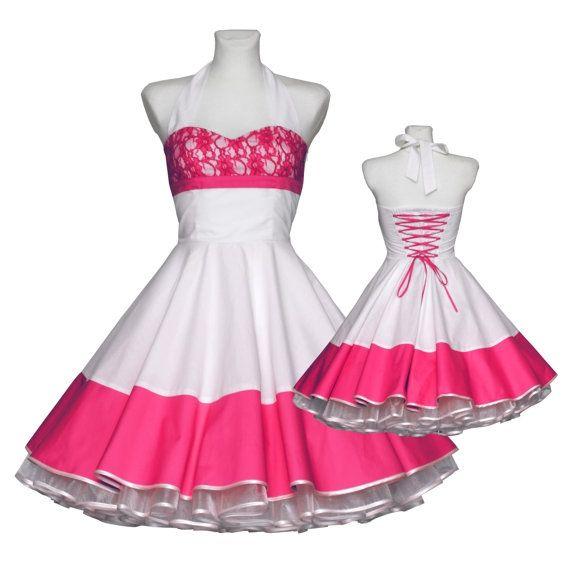 Hochzeitskleid in weiß pink mit Spitze nach Maß