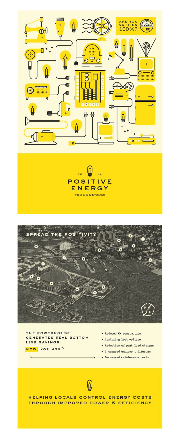 Positive Energy branding by Fuzzco - Brand Creation, Collateral, Icons, Illustration, Logo, Print, Responsive Web Design, Website