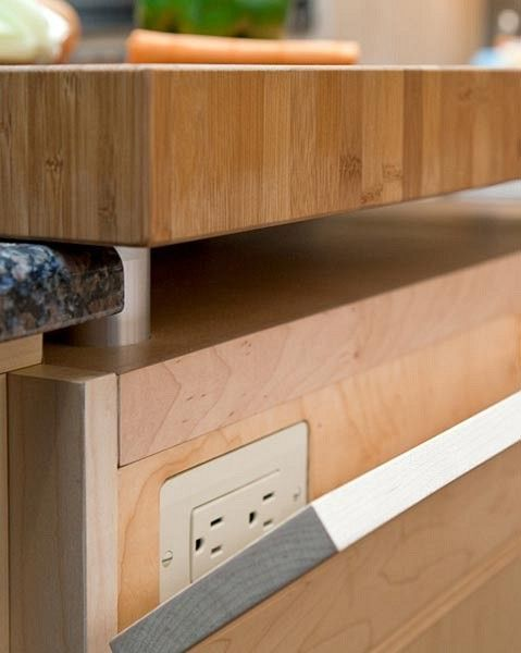 clever outlet panelButcher Block, Kitchens Inspiration, Kitchens Ideas, Kitchens Islands, Hidden Outlets