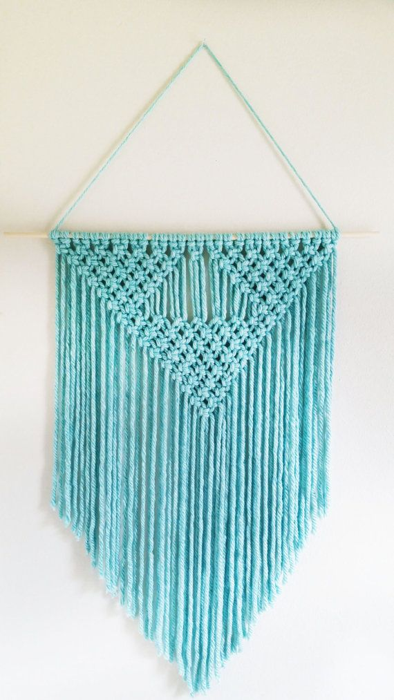 This beautiful handmade macrame wall hanging is the perfect decoration to add a touch of color to any room. Color: Wintergreen (similar to a teal color) Size: 28 inches wide (from one end of the wooden dowel to the other end), 37 inches long (the longest part of the yarn in the middle) We can do custom colors, please message us for more information. Follow and tag us on Instagram @creativechicshop to learn about latest deals and giveaways! Warning: Please keep out of reach from small ...