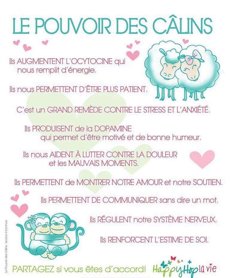 Le pouvoir des câlins. Saviez-vous que selon des études scientifiques très sérieuses, recevoir ou offrir un câlin développe différentes hormones qui permettent de maintenir un bien-être général?#citation #citationdujour #proverbe #quote #frenchquote #pensées #phrases #french #français