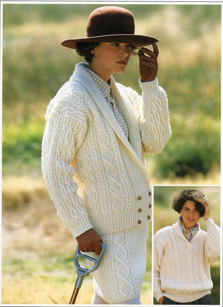 "womens knitting pattern pdf womens aran jacket sweater skirt suit cable cardigan shawl collar 32-42"" aran worsted 10ply pdf instant download by Hobohooks on Etsy"