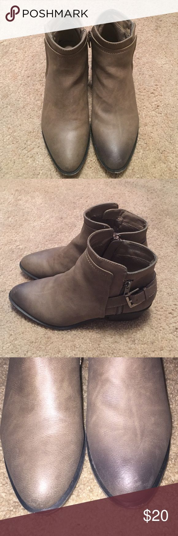 """Madden Girl booties Worn only twice, Madden Girl sandy grey with buckle detail booties. There's discolor on the left shoe toe area. That specific show was on display. I used flash to fully capture discolor. Price reflects defect. Measure 9.5"""" Madden Girl Shoes Ankle Boots & Booties"""