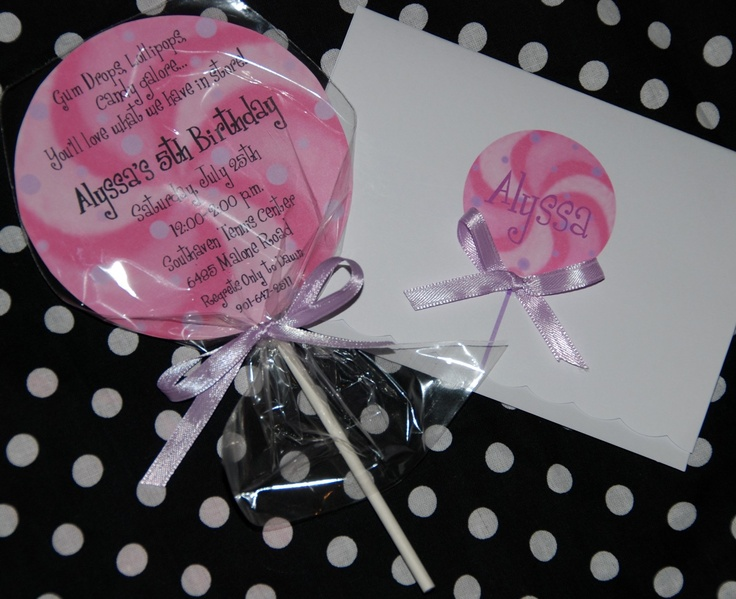 inviteShops Lollipops, Birthday Parties, Sweets Sixteen, Birthday Invitations, Candyland Sweets, Lollipops Birthday, Invitations Ideas, Parties Ideas, Sweets Shops