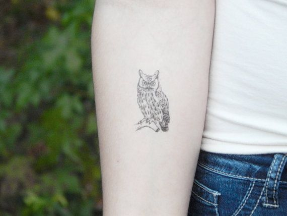 Owl Temporary Tattoo  Owl Tattoo  Illustration by SymbolicImports